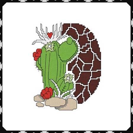 cross stitch pattern Arizona Heart Cactus