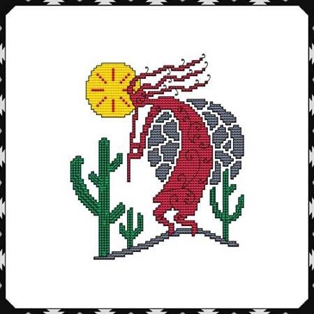 cross stitch pattern Arizona Kokopelli