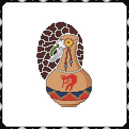 cross stitch pattern Arizona Kokopelli Pottery