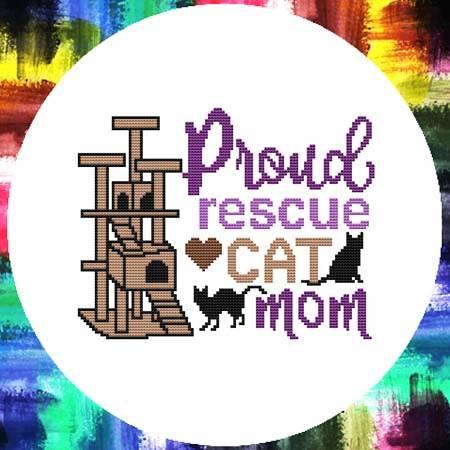 cross stitch pattern Proud Rescue Cat Mom