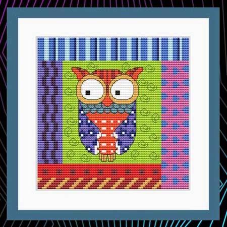 cross stitch pattern Crazy Patch Owl 01