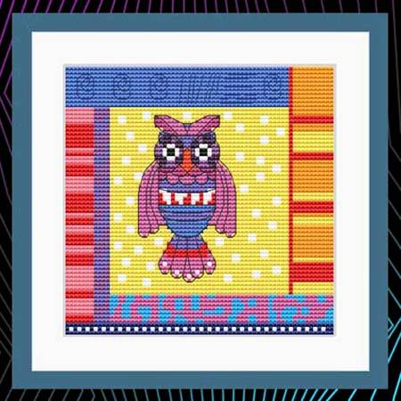 cross stitch pattern Crazy Patch Owl 02