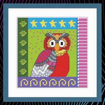 cross stitch pattern Crazy Patch Owl 03