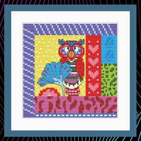 cross stitch pattern Crazy Patch Owl 06