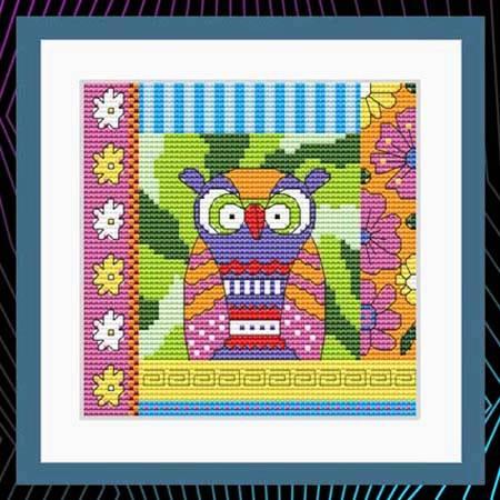cross stitch pattern Crazy Patch Owl 07