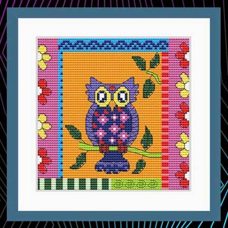 cross stitch pattern Crazy Patch Owl 10