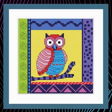 cross stitch pattern Crazy Patch Owl 12