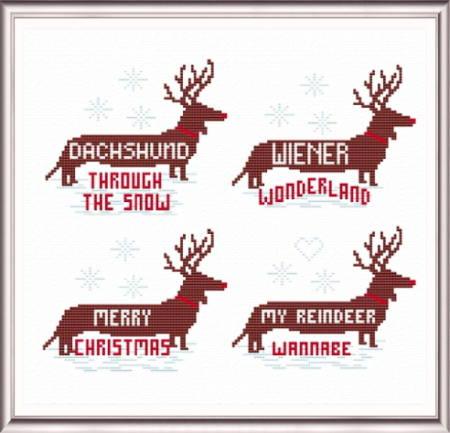cross stitch pattern Christmas Dachshunds
