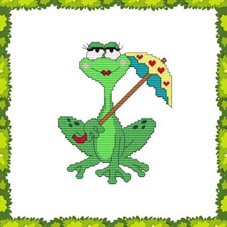 cross stitch pattern Funny Frog Umbrella