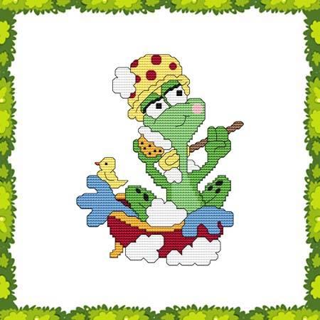 cross stitch pattern Funny Frog Bath Time