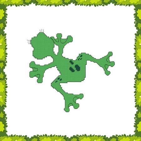 cross stitch pattern Funny Frog Flat Out