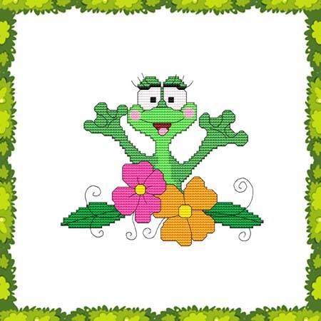 cross stitch pattern Funny Frog Flowers