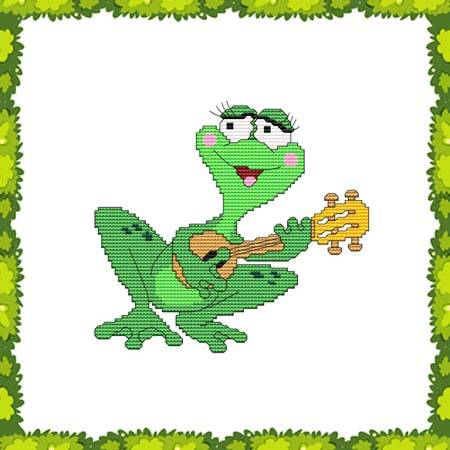 cross stitch pattern Funny Frog Guitar