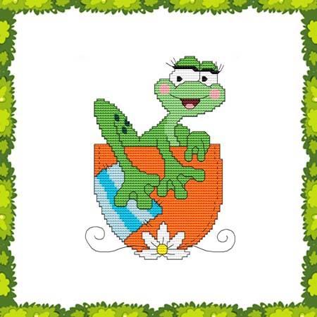 cross stitch pattern Funny Frog Pocket