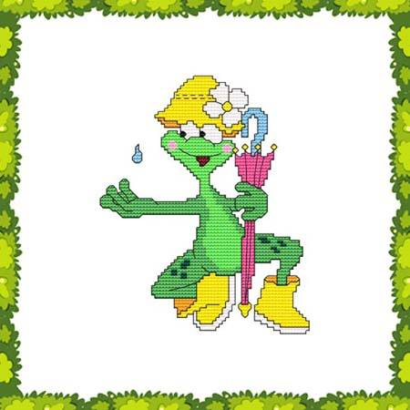 cross stitch pattern Funny Frog Rain