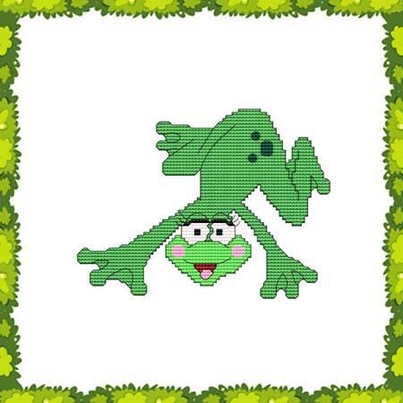 cross stitch pattern Funny Frog Silly