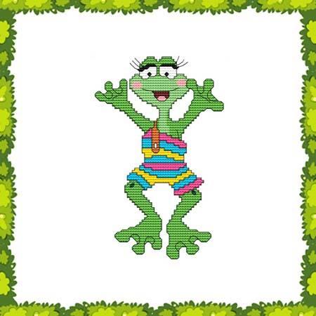 cross stitch pattern Funny Frog Swimsuit