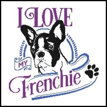 cross stitch pattern I Love My Frenchie