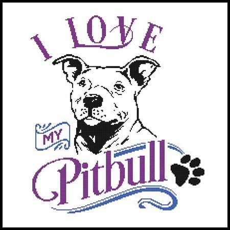 cross stitch pattern I Love My Pitbull