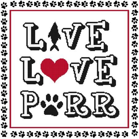 cross stitch pattern Live Love Purr