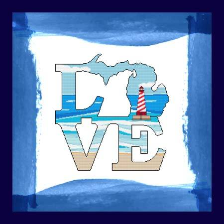 cross stitch pattern Love Michigan