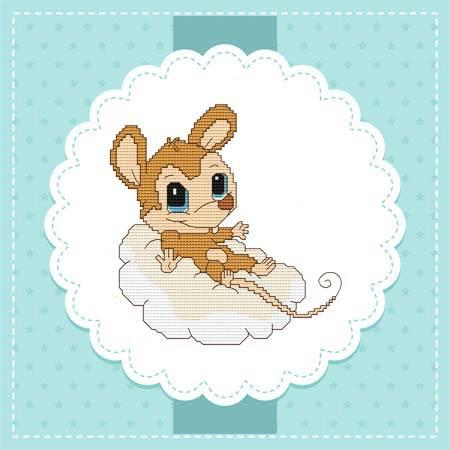 cross stitch pattern Baby Mice In the Sky - Cloud