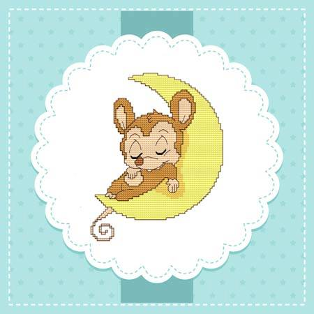 cross stitch pattern Baby Mice In the Sky - Moon