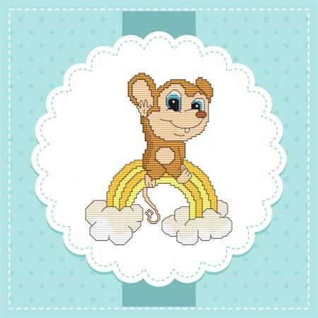 cross stitch pattern Baby Mice In the Sky - Rainbow