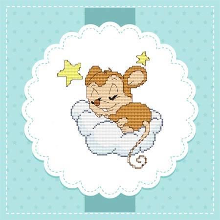 cross stitch pattern Baby Mice In the Sky - Stars