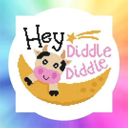 cross stitch pattern Nursery Rhyme - Hey Diddle Diddle