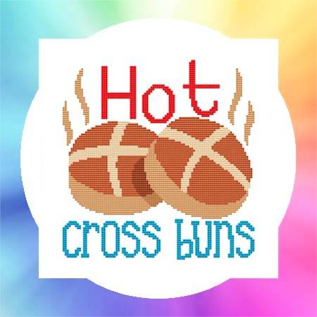 cross stitch pattern Nursery Rhyme - Hot Cross Buns