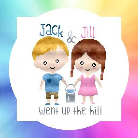 cross stitch pattern Nursery Rhyme - Jack and Jill