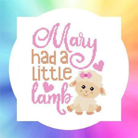 cross stitch pattern Nursery Rhyme - Mary Had A Little Lamb