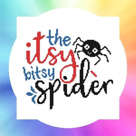 cross stitch pattern Nursery Rhyme - The Itsy Bitsy Spider