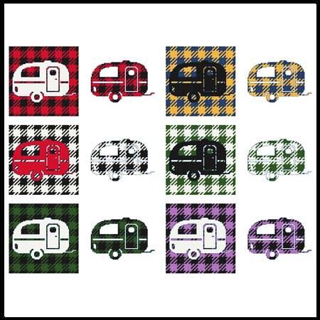 cross stitch pattern Fun With Plaid - Camper