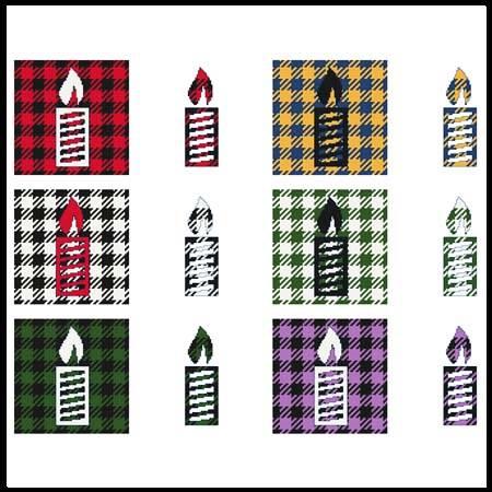 cross stitch pattern Fun With Plaid - Candle