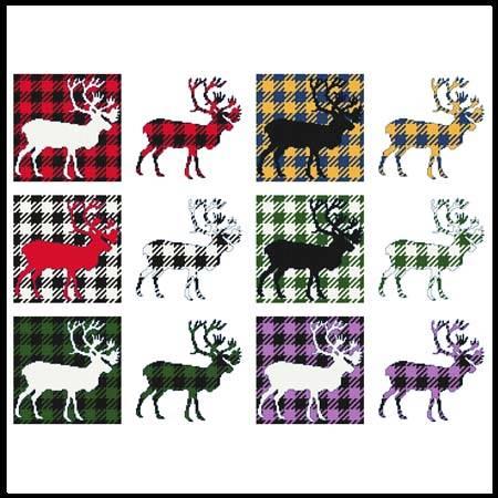 cross stitch pattern Fun With Plaid - Caribou