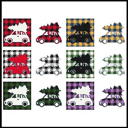 cross stitch pattern Fun With Plaid - Car With Christmas Tree