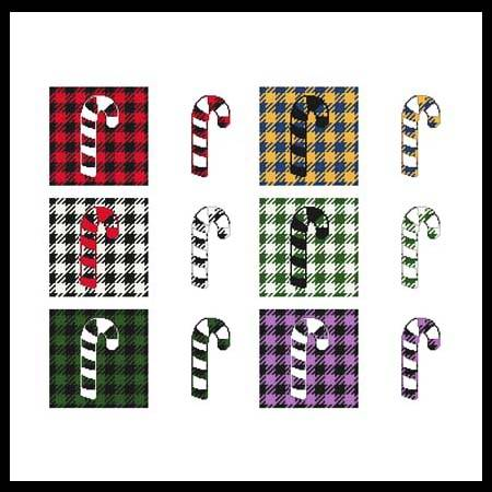 cross stitch pattern Fun With Plaid - Candy Cane