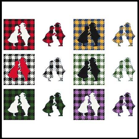 cross stitch pattern Fun With Plaid - Santa  Mrs. Claus
