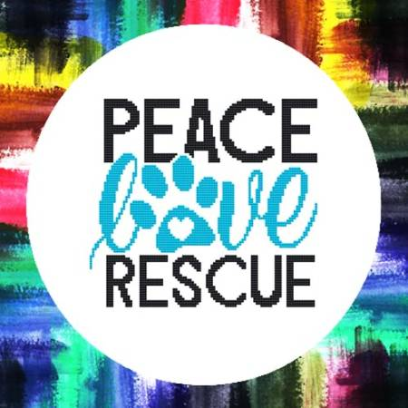 cross stitch pattern Peace Love Rescue