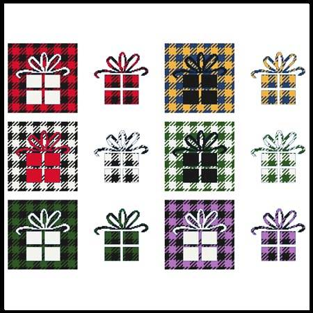 cross stitch pattern Fun With Plaid - Present / Gift