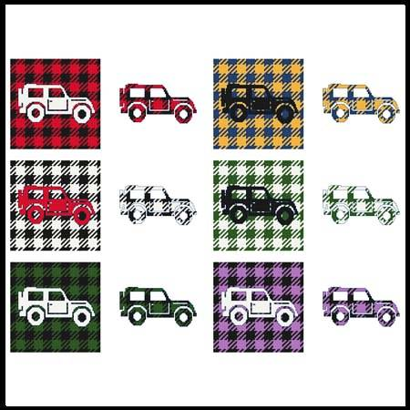 cross stitch pattern Fun With Plaid - Jeep