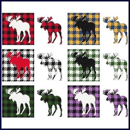 cross stitch pattern Fun With Plaid - Moose