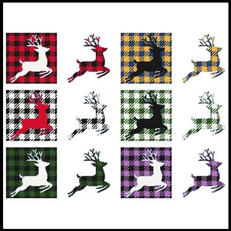 cross stitch pattern Fun With Plaid - Reindeer