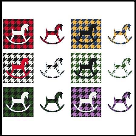 cross stitch pattern Fun With Plaid - Rocking Horse