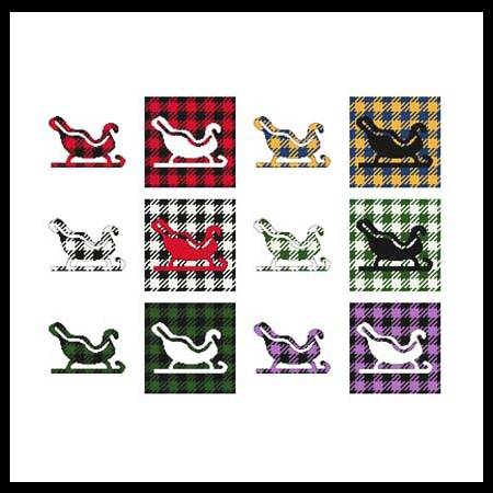 cross stitch pattern Fun With Plaid - Sleigh