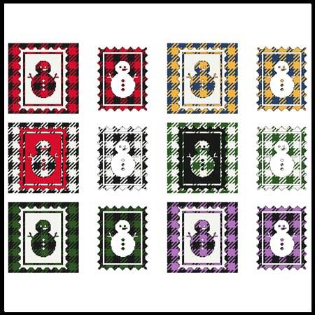 cross stitch pattern Fun With Plaid - Snowman Stamp