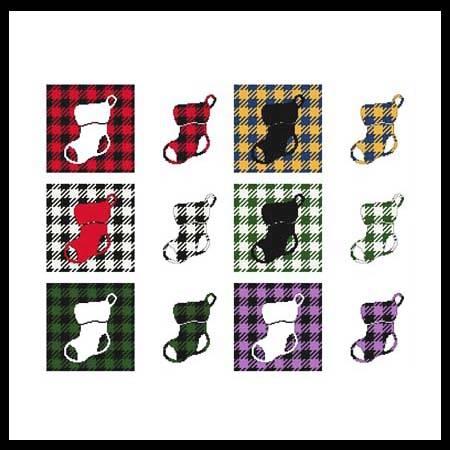 cross stitch pattern Fun With Plaid - Stocking
