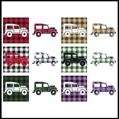 cross stitch pattern Fun With Plaid - Tow Jeep